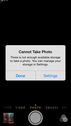 iPhone that can't take pictures